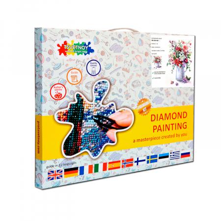 Set goblen cu diamante, cu sasiu, Rapsodie florala, 40x50 cm2