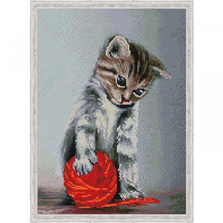 Set goblen cu diamante, cu sasiu, Kitten with a red claw, 40x50 cm0