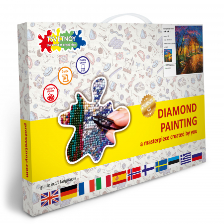 Set goblen cu diamante, cu sasiu, Seara de Toamna, 40x50 cm [6]