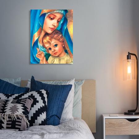 Set goblen cu diamante, cu sasiu, Sfanta Maria, 40x50 cm6