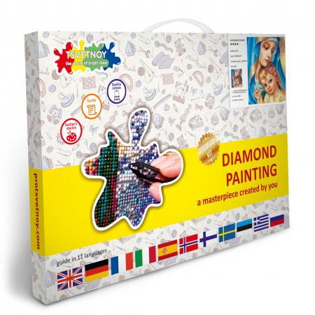 Set goblen cu diamante, cu sasiu, Sfanta Maria, 40x50 cm4