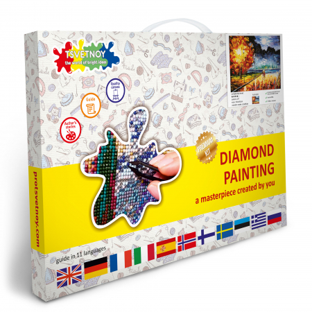 Set goblen cu diamante, cu sasiu, Toamna, 40x50 cm4