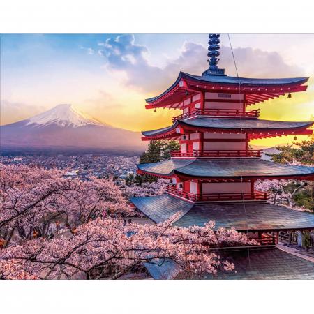 Set goblen cu diamante, cu sasiu, Tokio - Pagoda Chureito, 40x50 cm0