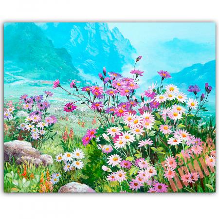 Set goblen cu diamante, cu sasiu, Spring Meadow, 40x50 cm0