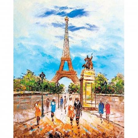Set goblen cu diamante, cu sasiu, Turnul Eiffel, 40x50 [0]