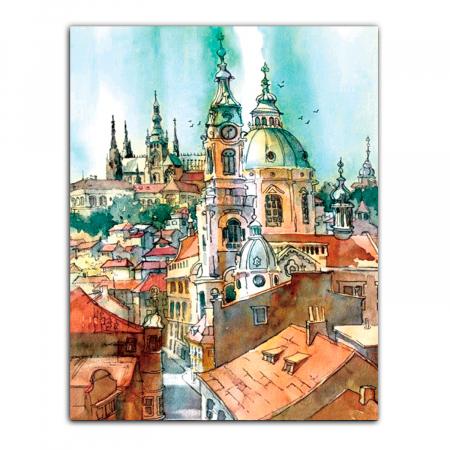 Goblen cu Diamante, cu sasiu, Turnurile vechiului oras, 40x50 cm [0]