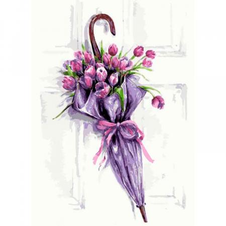 Set goblen cu diamante, cu sasiu, Umbrela cu Flori, 40x50 cm0