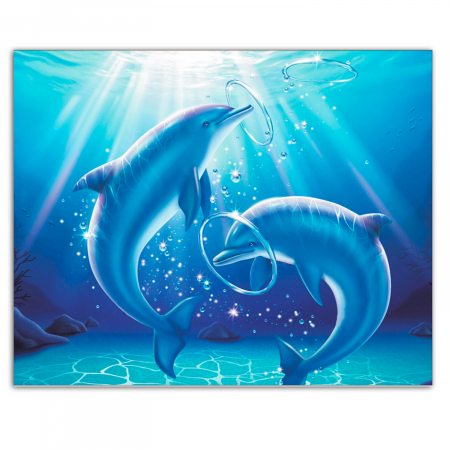 Set goblen cu diamante, cu sasiu, Playing Dolphins, 40x50 cm0