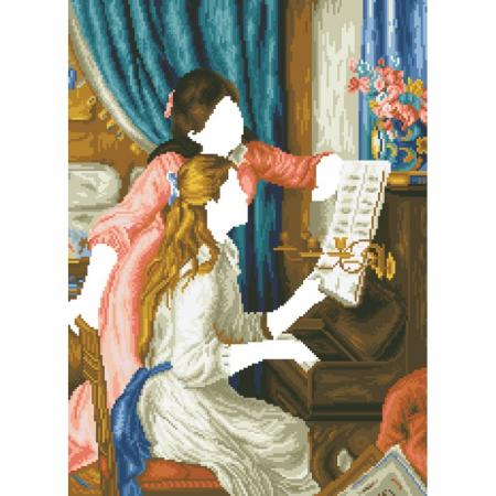 Goblen cu diamante, Fete la pian - Renoir, 66x48 cm [10]