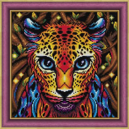 Set goblen cu diamante, fara sasiu, Leopard curcubeu, 30x30 cm1