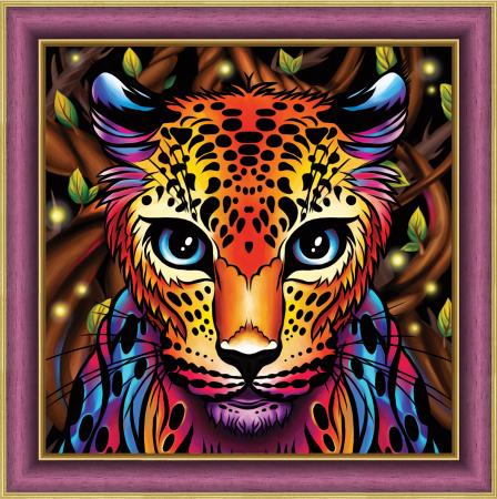 Set goblen cu diamante, fara sasiu, Leopard curcubeu, 30x30 cm0