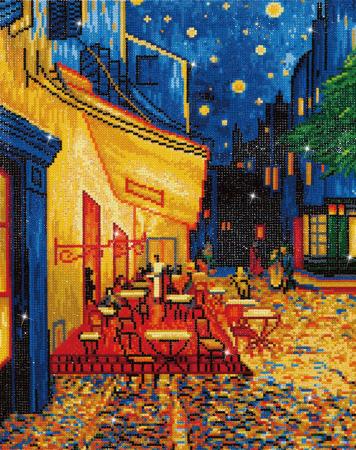 Goblen cu diamante, Terasa cafenelei noaptea - Van Gogh 52x42 cm [0]