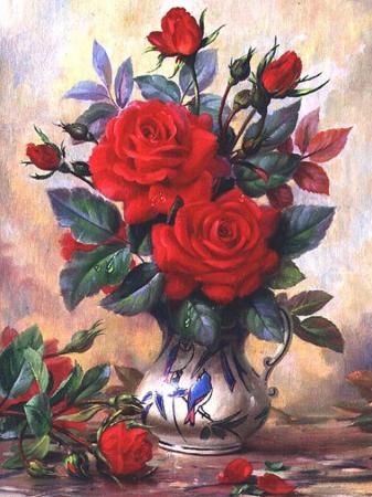 Set goblen cu diamante, fara sasiu, Trandafiri rosii [0]