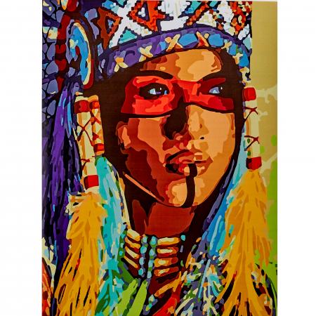 Set pictura pe numere, cu sasiu, Amerindianca, 40x50 cm0