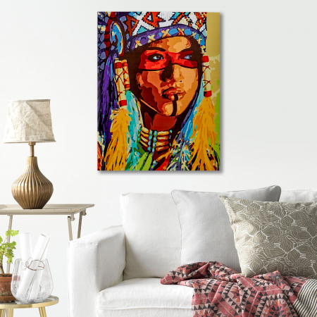 Set pictura pe numere, cu sasiu, Amerindianca, 40x50 cm4
