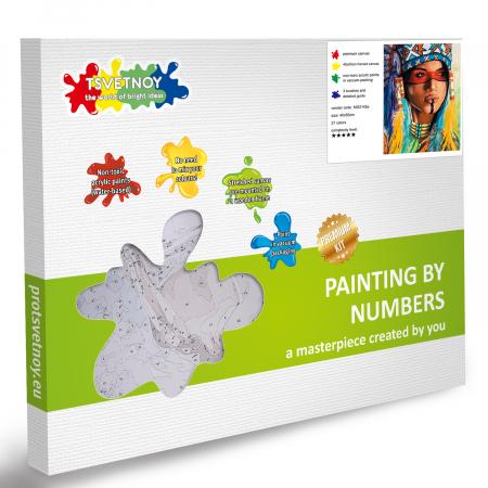 Set pictura pe numere, cu sasiu, Amerindianca, 40x50 cm6