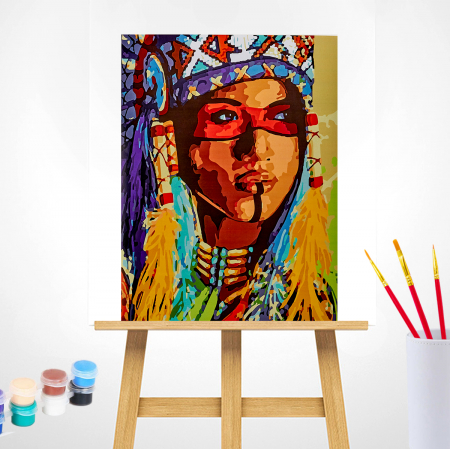 Set pictura pe numere, cu sasiu, Amerindianca, 40x50 cm1