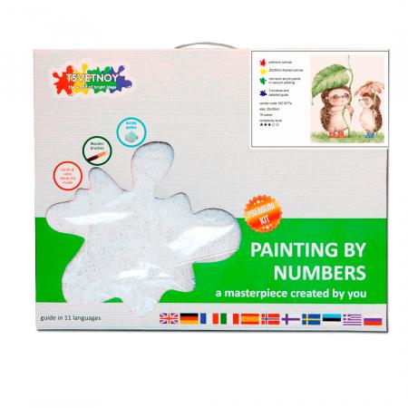 Set pictura pe numere, cu sasiu, Arici in ploaie 20x30 cm4