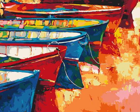 Set pictura pe numere, cu sasiu, Barci langa coasta, 40x50 cm0