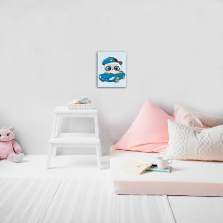 Set pictura pe numere, cu sasiu, Little Panda, 20x30 cm2