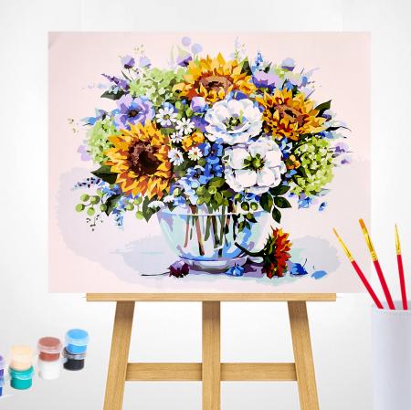 Set pictura pe numere, cu sasiu, Buchet cu floarea-soarelui, 40x50 cm2