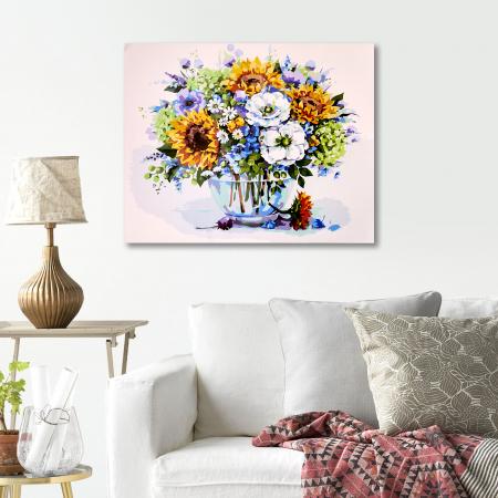 Set pictura pe numere, cu sasiu, Buchet cu floarea-soarelui, 40x50 cm4