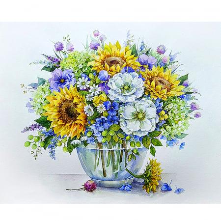 Set pictura pe numere, cu sasiu, Buchet cu floarea-soarelui, 40x50 cm0