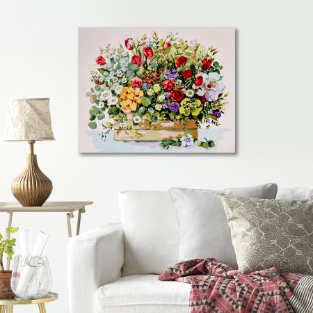 Set pictura pe numere, cu sasiu, Buchet cu lalele rosii, 40x50 cm2