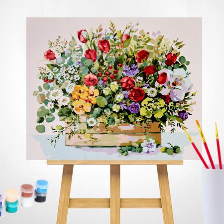 Set pictura pe numere, cu sasiu, Buchet cu lalele rosii, 40x50 cm1