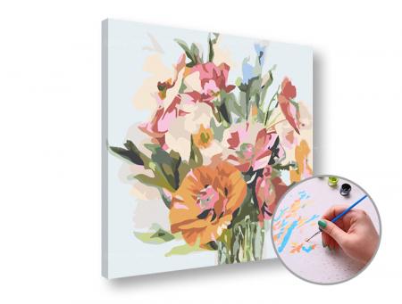 Pictura pe numere, cu sasiu, Buchet de flori, 50x50cm [0]