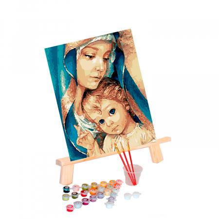 Set pictura pe numere, cu sasiu, Fecioara Maria, 40x50 cm0