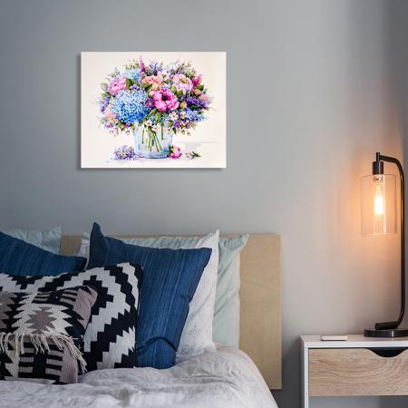 Set pictura pe numere, cu sasiu, Buchet de vara cu hortensie albastra, 40x50 cm2