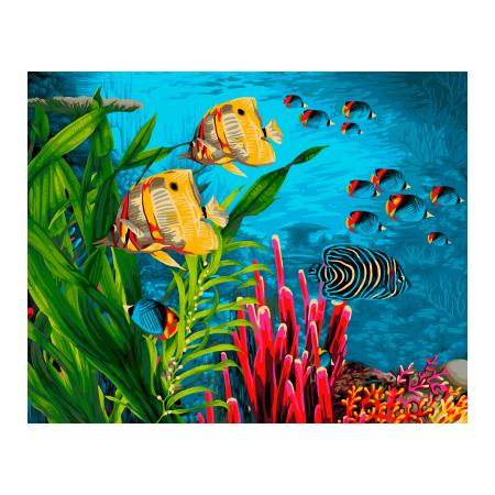Set pictura pe numere, cu sasiu, Coral Reef, 40x50 cm0