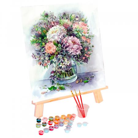 Set pictura pe numere, cu sasiu, Bujori in vaza 2, 40x50 cm2
