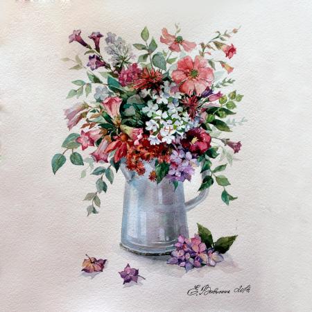 Set pictura pe numere, cu sasiu, Flower Rhapsody, 40x50 cm1