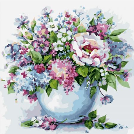 Set pictura pe numere, cu sasiu, Flori delicate, 40x50 cm0