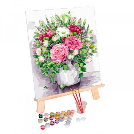Set pictura pe numere, cu sasiu, Bujori in vaza, 40x50 cm1