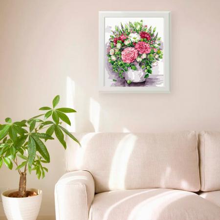 Set pictura pe numere, cu sasiu, Bujori in vaza, 40x50 cm2