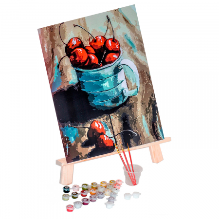 Set pictura pe numere, cu sasiu, Cirese in cana, 30x40 cm1