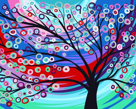 Set pictura pe numere, cu sasiu, Copacul zanelor, 40x50 cm0