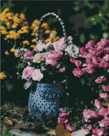 Set pictura pe numere, cu sasiu, Cos cu flori, 40x50 cm0