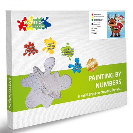 Set pictura pe numere, cu sasiu, Craciun fericit, 20x30 cm4