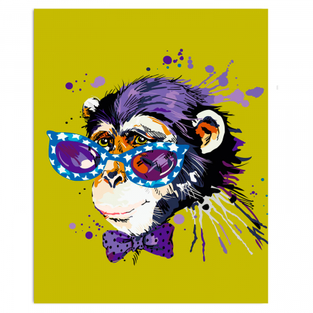 Set pictura pe numere, cu sasiu, Stylish Monkey, 30x40 cm0
