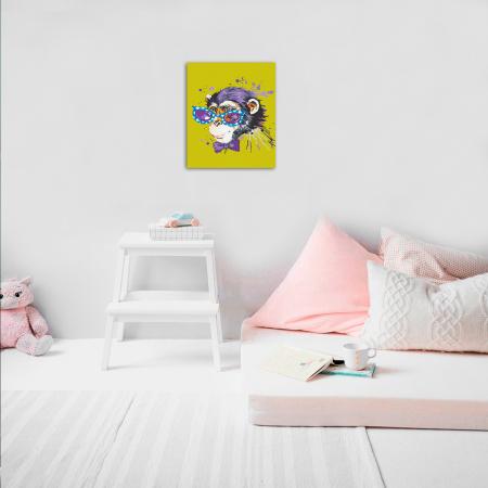 Pictura pe numere, cu sasiu, Stylish Monkey, 30x4o cm [2]