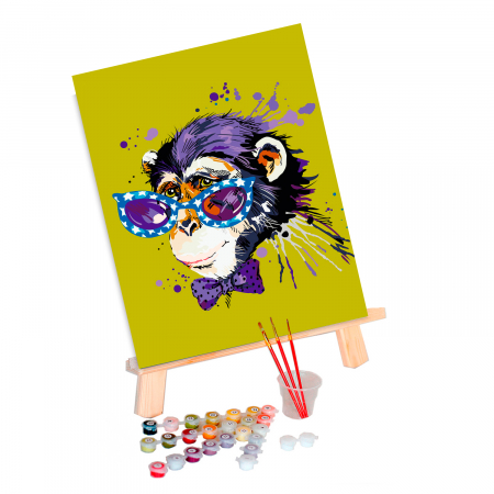 Set pictura pe numere, cu sasiu, Stylish Monkey, 30x40 cm1