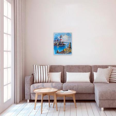 Set pictura pe numere, cu sasiu, Digul de langa far, 40x50 cm2