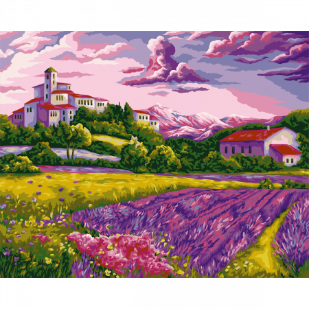 Set pictura pe numere, cu sasiu, Evening in Provence, 40x50 cm0