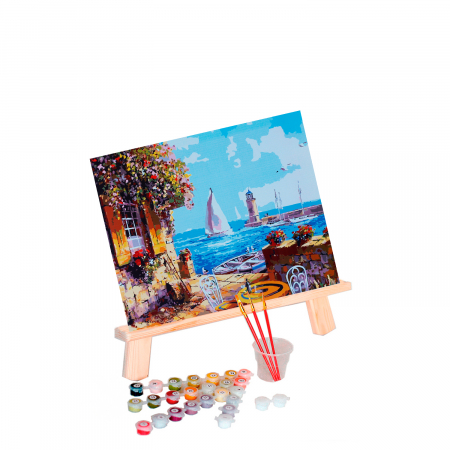 Set pictura pe numere, cu sasiu, Veranda at the Pier, 40x50 cm0