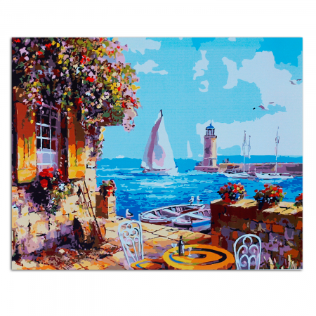 Set pictura pe numere, cu sasiu, Veranda at the Pier, 40x50 cm1