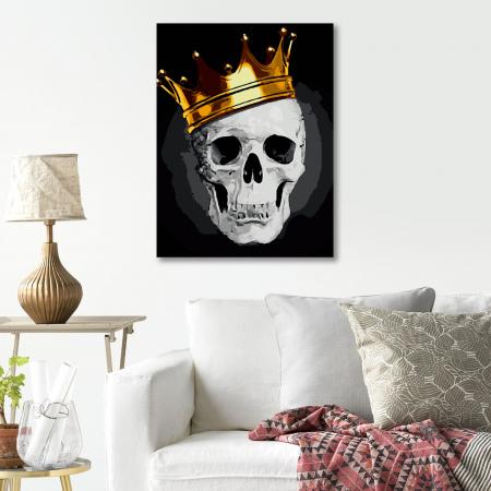 Set pictura pe numere, cu sasiu, Fashionable Skull, 40x50 cm4